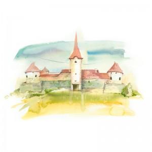 Carte poștală Csillag István - Castelul Sükösd-Bethlen din Racoș